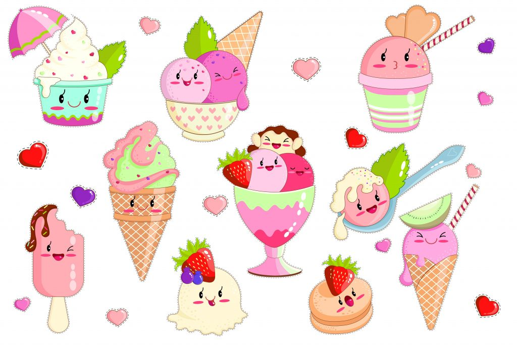 Ice Cream in Waffle Cones, Dish, Spoon, Ice Lolly in Kawaii Style with Pink Cheeks and Winking Eyes Flat Cartoon Vector Illustration. Taste with Strawberry, Kiwi, Grapes. Smiling Characters.
