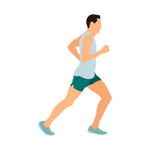 Colored illustration of a man running, man running in a gray shirt and green shorts and blue sneakers