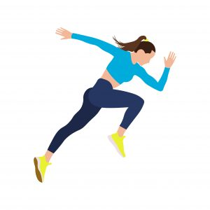 Cartoon depiction of woman running, woman running in blue top and yellow sneakers