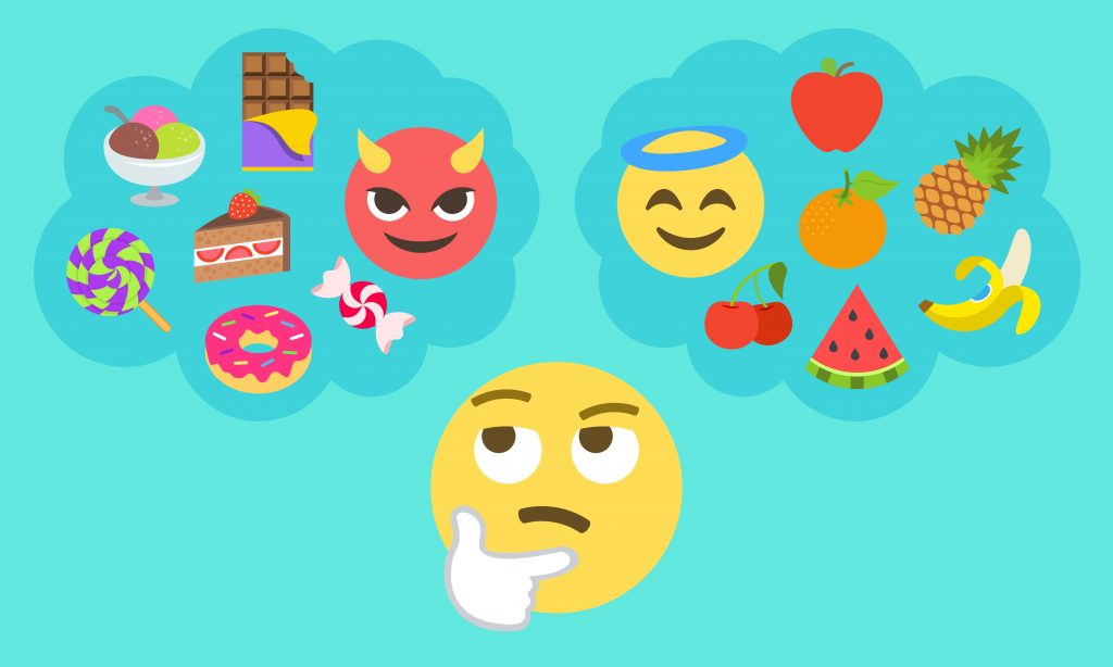 thinking face emoji with two thought bubbles above it, thought bubbles filled with other emojis