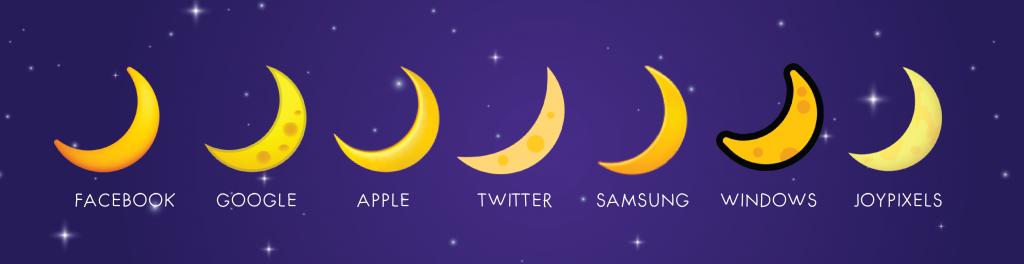 crescent moon emoji on different platforms