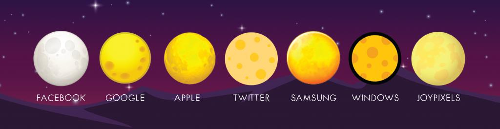 full moon emoji on different platforms