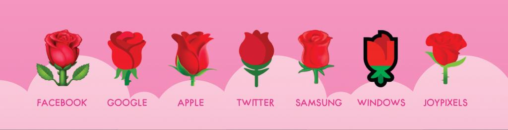 rose emoji on different platforms