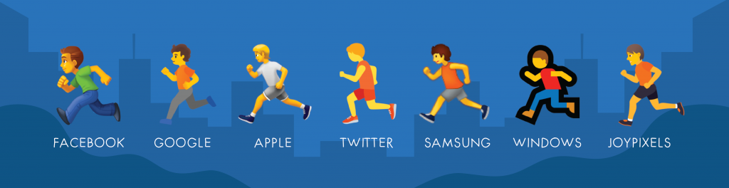 running emoji on different platforms