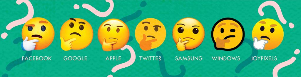 thinking emoji on different platforms