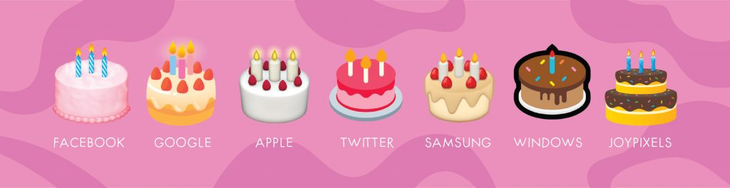 birthday cake emoji on different platforms