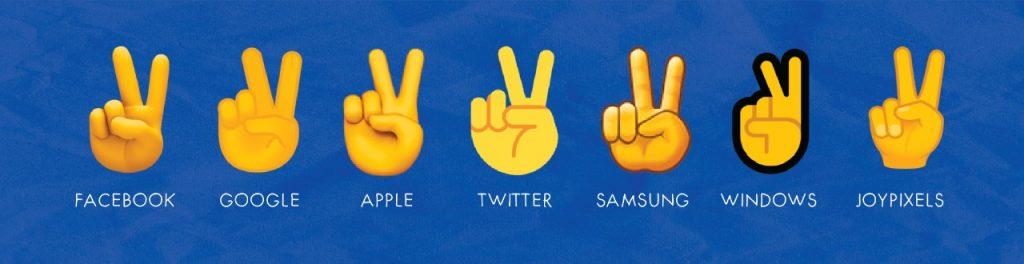 victory hand emoji on different platforms