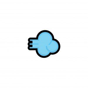 Dashing Away icon in blue, Dashing Away emoji in light blue with black border, fart emoji, fart emoji in blue