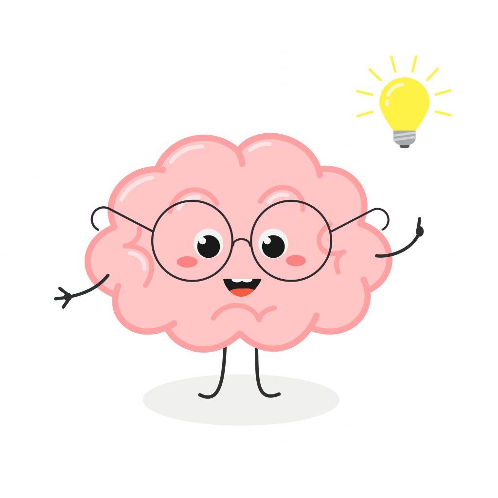 Animated Brain with Lightbulb, brain illustration