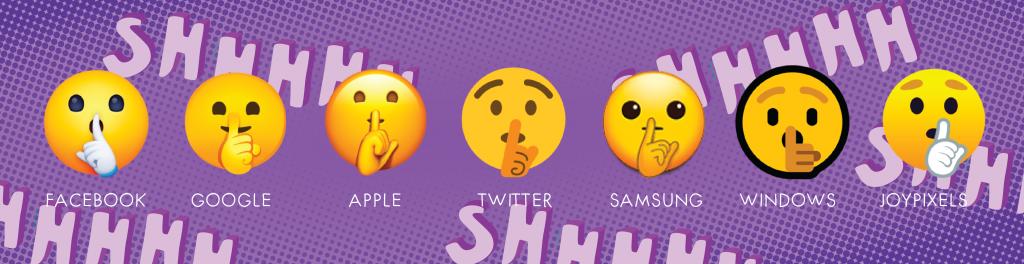shh emoji on different platforms