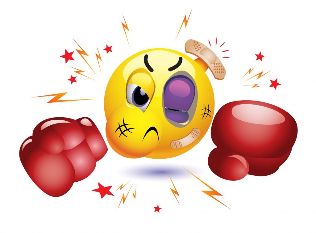 Smiley boxing, boxing emoji, smiley about to box, smiley wearing boxing gloves