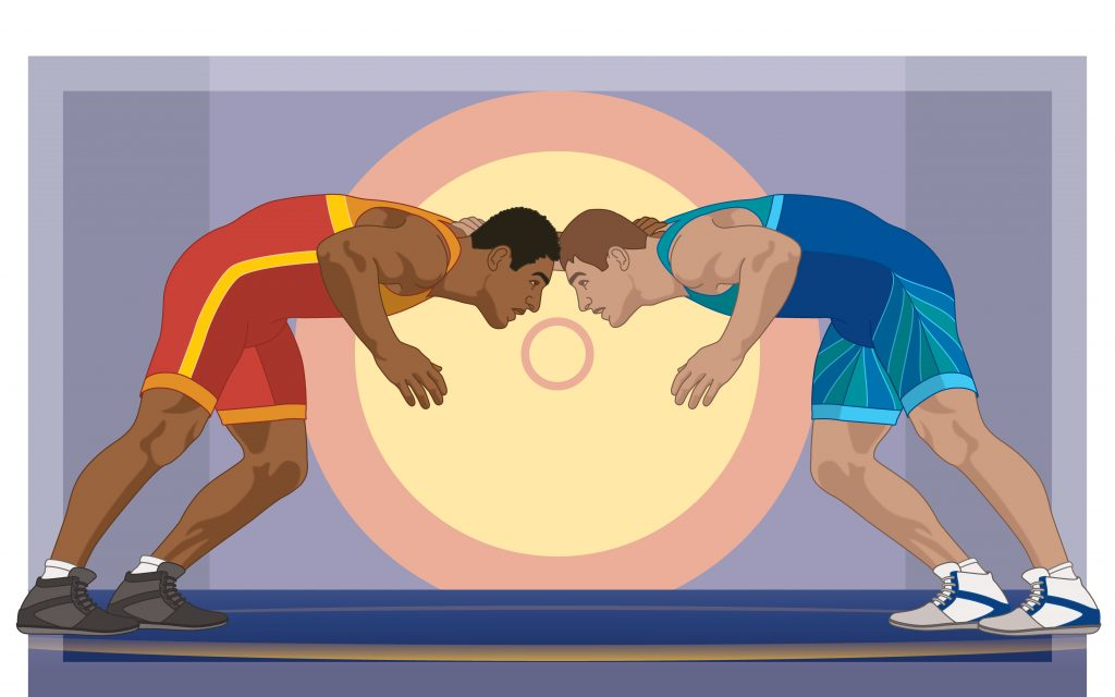 Colored photo of two men butting heads, Black man and White man about to wrestle