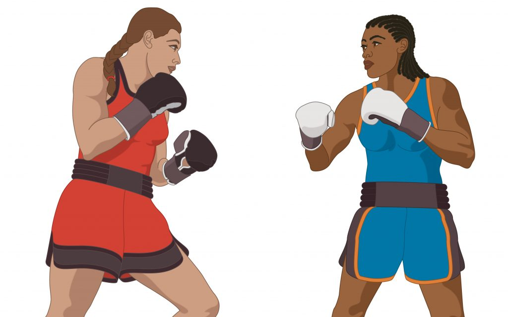 colored photo of two women boxers, illustration of Caucasian and Black woman boxing