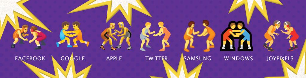 fighting emoji on different platforms