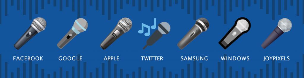 Microphone emoji on different platforms