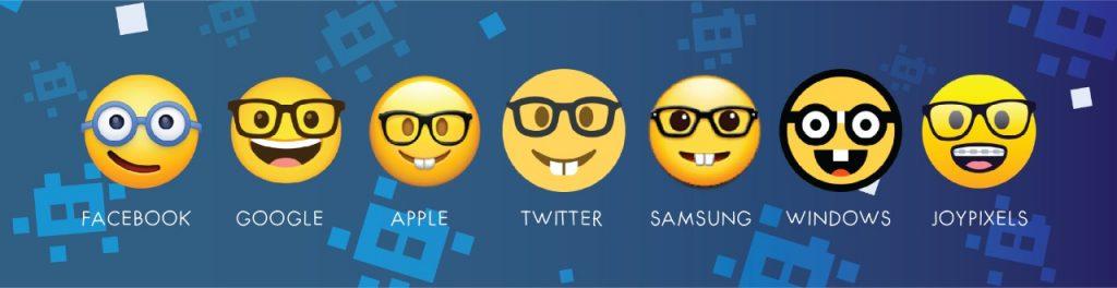 nerd emoji on different platforms
