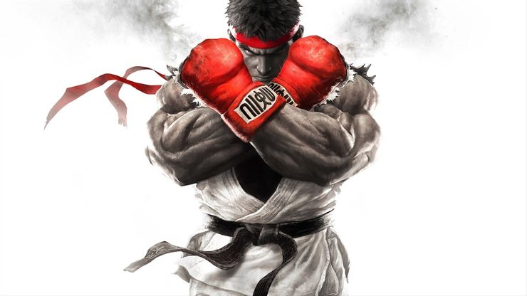 Ryu of Street Fighter with red gloves, Ryu of Street Fighter about to fight