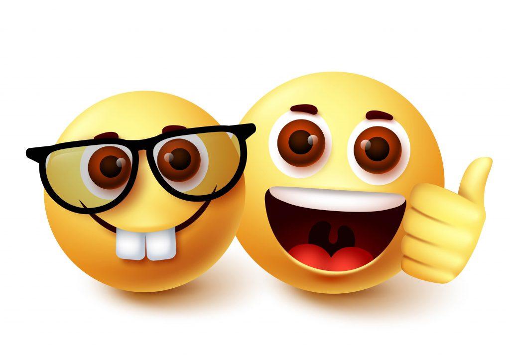Smiley emoji of nerd friend