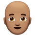 Man: Medium Skin Tone, Bald