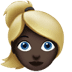 Woman: Dark Skin Tone, Blond Hair