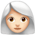 👩🏻‍🦳 woman: light skin tone, white hair Emoji on Apple Platform