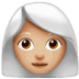 👩🏼‍🦳 woman: medium-light skin tone, white hair Emoji on Apple Platform