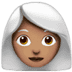 👩🏽‍🦳 woman: medium skin tone, white hair Emoji on Apple Platform