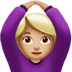 🙆🏼‍♀️ woman gesturing OK: medium-light skin tone Emoji on Apple Platform