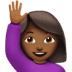 Medium Dark Skin Tone Woman Raising Hand