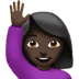 Woman Raising Hand: Dark Skin Tone