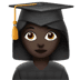 👩🏿‍🎓 woman student: dark skin tone Emoji on Apple Platform