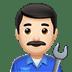 👨🏻🔧 man mechanic: light skin tone Emoji on Apple Platform