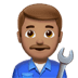 👨🏽🔧 man mechanic: medium skin tone Emoji on Apple Platform