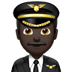 👨🏿‍✈️ man pilot: dark skin tone Emoji on Apple Platform