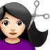 💇🏻‍♀️ woman getting haircut: light skin tone Emoji on Apple Platform