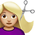 💇🏼♀️ woman getting haircut: medium-light skin tone Emoji on Apple Platform