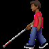 👨🏾‍🦯 man with probing cane: medium-dark skin tone Emoji on Apple Platform