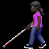 Woman With Probing Cane: Dark Skin Tone