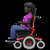 👩🏿‍🦼 woman in motorized wheelchair: dark skin tone Emoji on Apple Platform