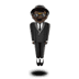 Dark Skin Tone Man In Suit Levitating