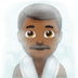🧖🏾‍♂️ man in steamy room: medium-dark skin tone Emoji on Apple Platform