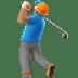 Medium Skin Tone Man Golfing