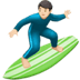 Man Surfing: Light Skin Tone