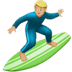 Man Surfing: Medium-light Skin Tone