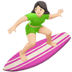Light Skin Tone Woman Surfing