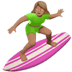 🏄🏽‍♀️ Medium Skin Tone Woman Surfing Emoji on Apple Platform