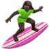 Dark Skin Tone Woman Surfing