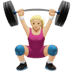 🏋🏼‍♀️ woman lifting weights: medium-light skin tone Emoji on Apple Platform