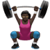 🏋🏿‍♀️ Dark Skin Tone Woman Lifting Weights Emoji on Apple Platform