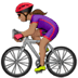 🚴🏽‍♀️ woman biking: medium skin tone Emoji on Apple Platform